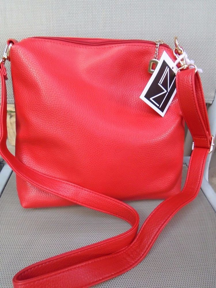 Inzi High Fashion Toronto Canada New Red Vegan Handbag 11 5 X11 Adjule Strap Messengercrossbody