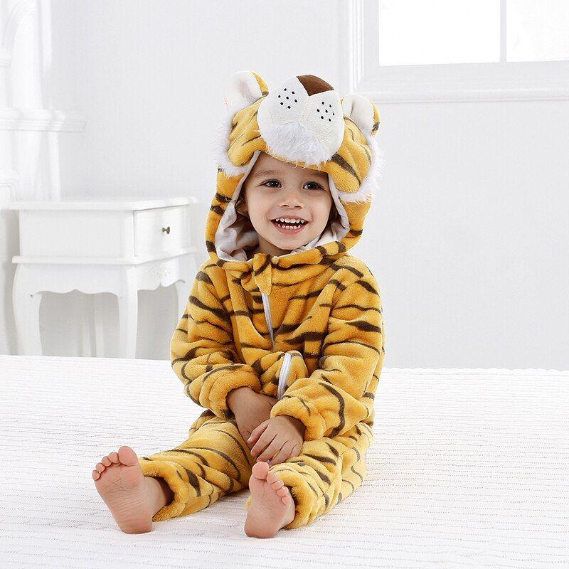 Newborn Baby Girl Boy Cartoon Animal Hooded Flannel Romper Jumpsuit Warm Clothes