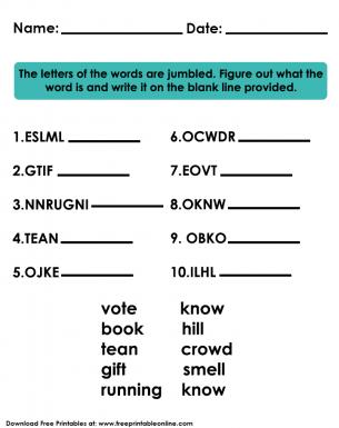 Jumbled Words Kids Worksheet | Lessons for Kids | Worksheets for ...