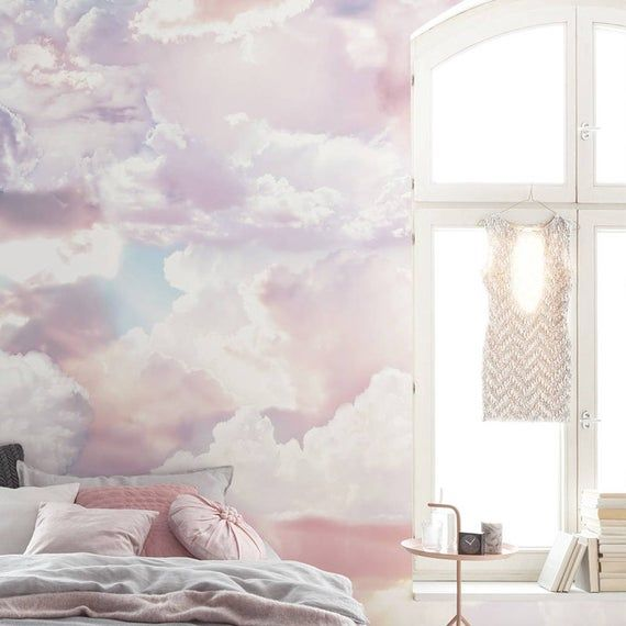 hand painted abstract clouds wallpaper wall mural on wall cloud id=22748