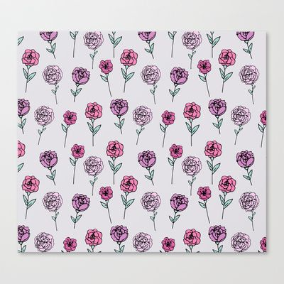 Peonies Stretched Canvas by Abby Galloway -