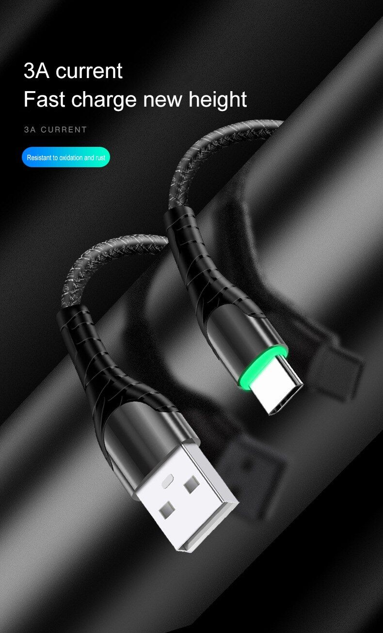 Iestore1 Led Usb Type C Cable For Samsung Xiaomi Redmi Samsung Mobile Charging Usb