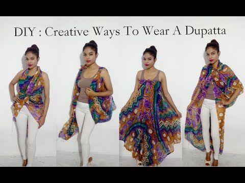 6583945fad892 No Sew DIY : 6 Creative Ways To Wear A Dupatta / Scarf - YouTube ...