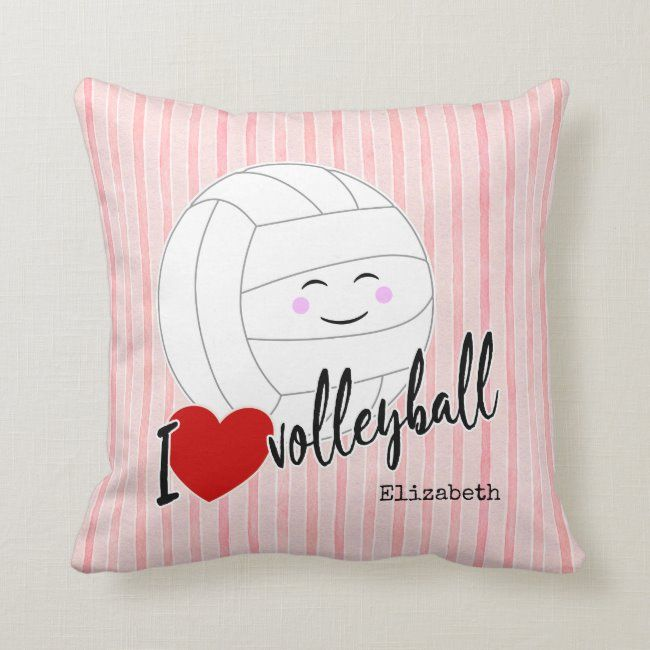 I heart volleyball happy kawaii girly pink stripes throw pillow