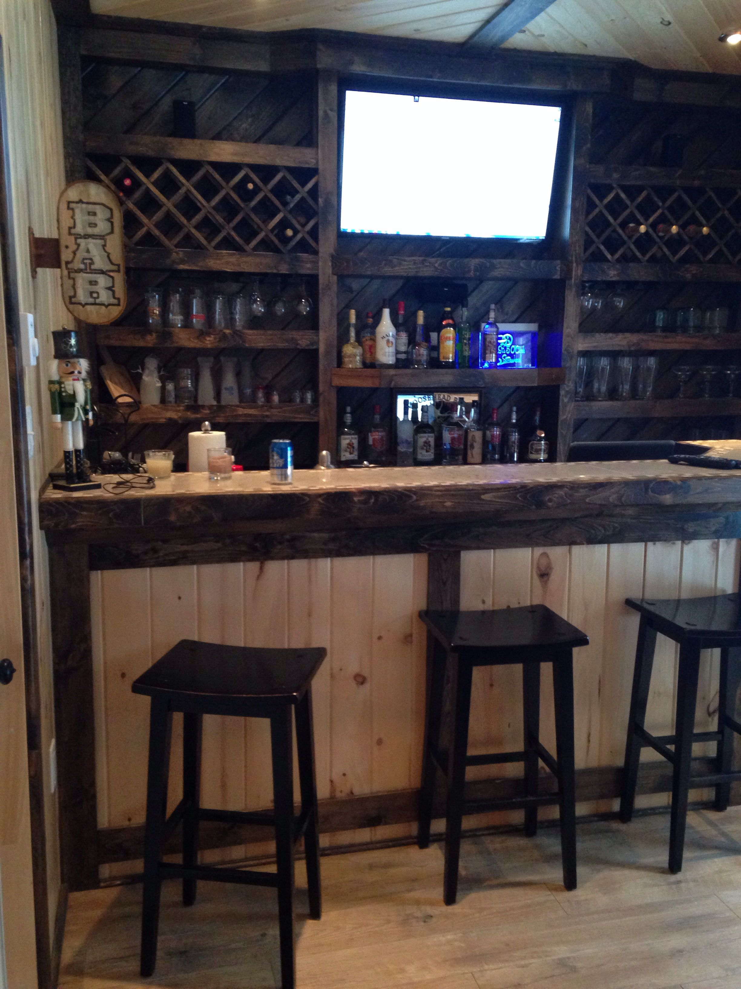 Garage bar idea for the hubbys man cave Like this but