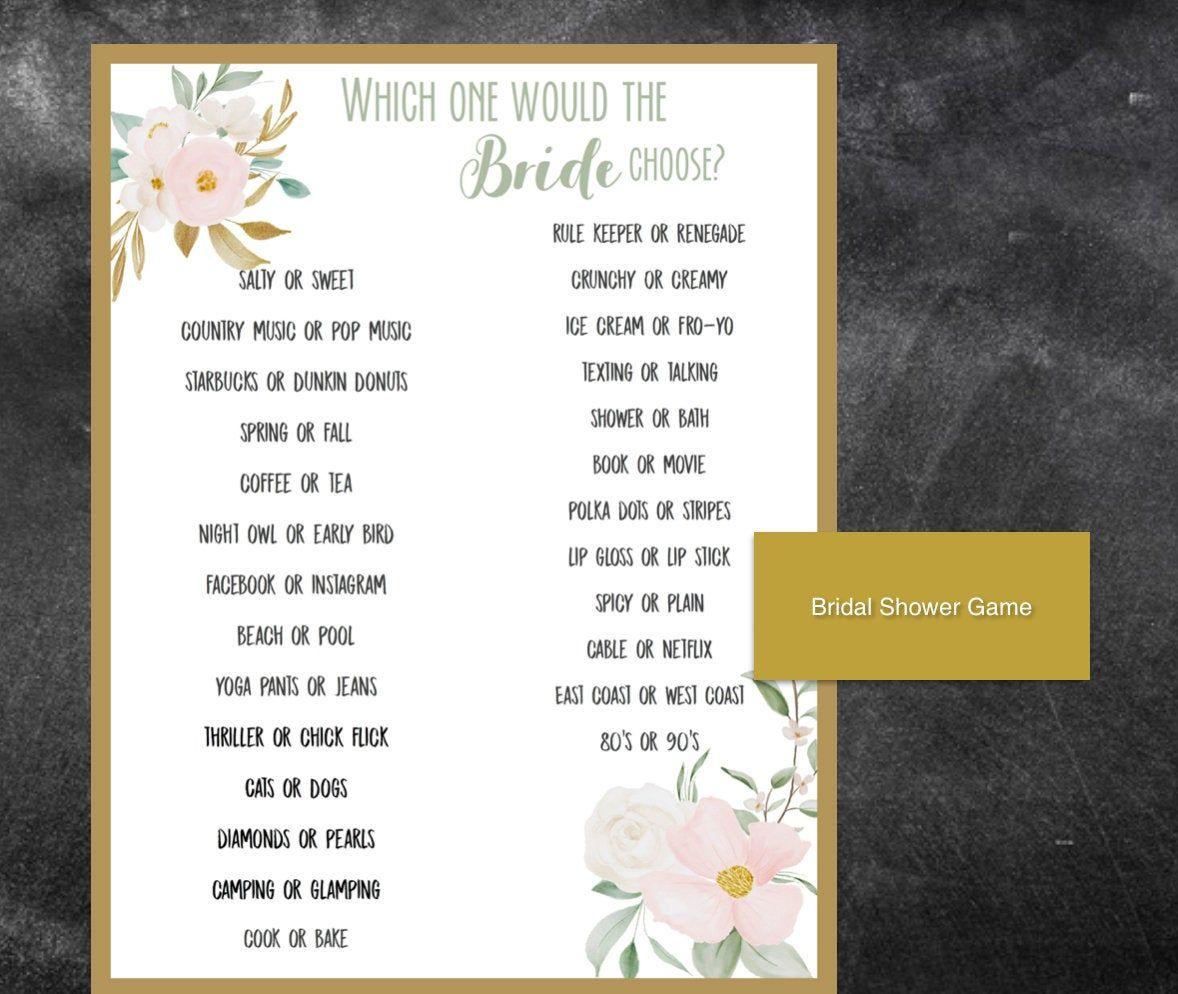Wedding Shower Would she rather Bridal Shower Game Card