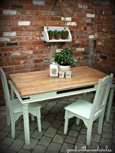 Shabby Chic Distressed Dining Table And 2 Chairs  Ebay  Diy Custom Dining Room Table And Chairs Ebay Inspiration Design