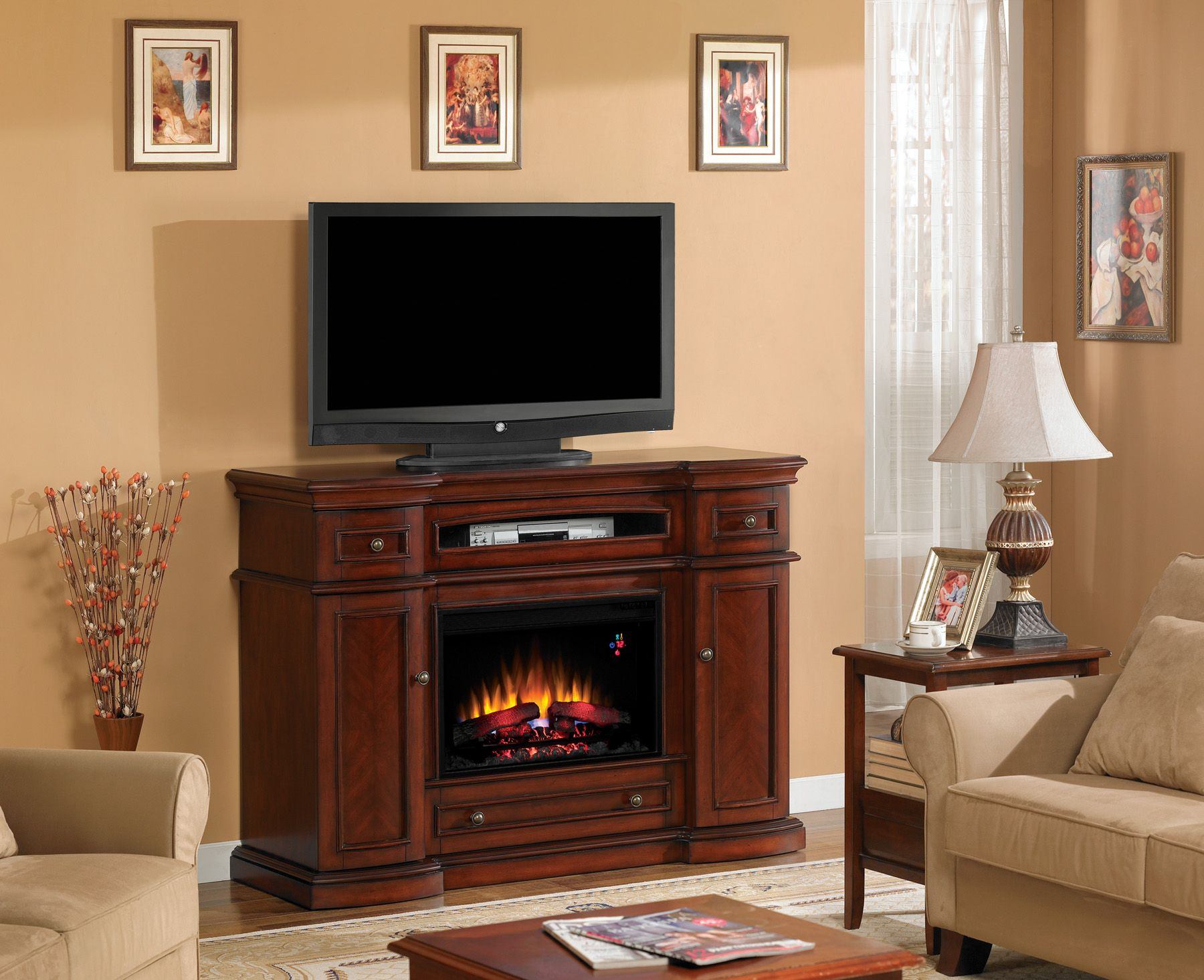 Fireplace amp tv stand in premium cherry finish with 23ef025gra electric - Classic Flame Manufactures The Most Extensive Selection Of High Quality Electric Fireplaces Electric Fireplace Mantel Packages Wall Mount Electric