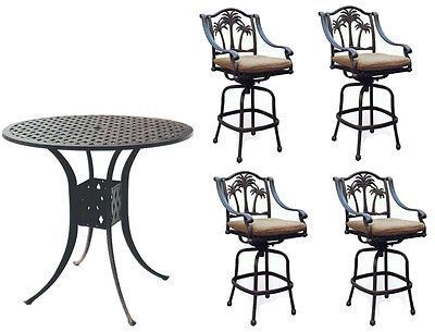 patio bar set outdoor cast aluminum palm tree 5pc round table bar