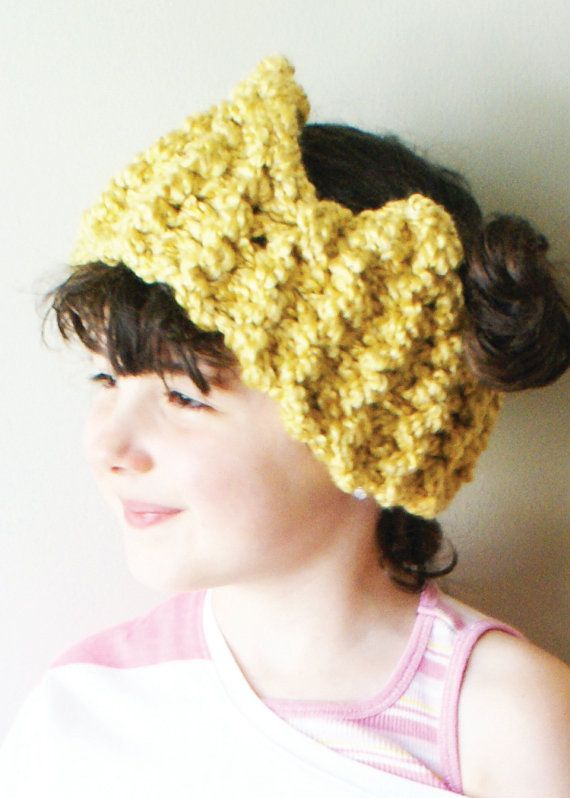 DIY Knitting PATTERN - Chunky Crown Ear Warmer / Headband in Toddler ...