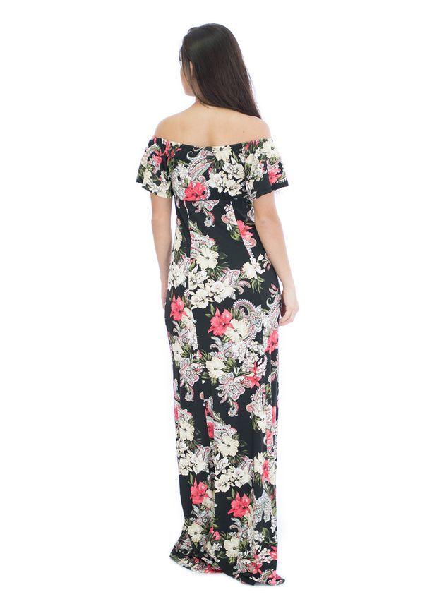 273872ef80 Vestido Longo Ombro a Ombro Ciganinha Manga Curta com Fenda Adelina - Bis  Bis