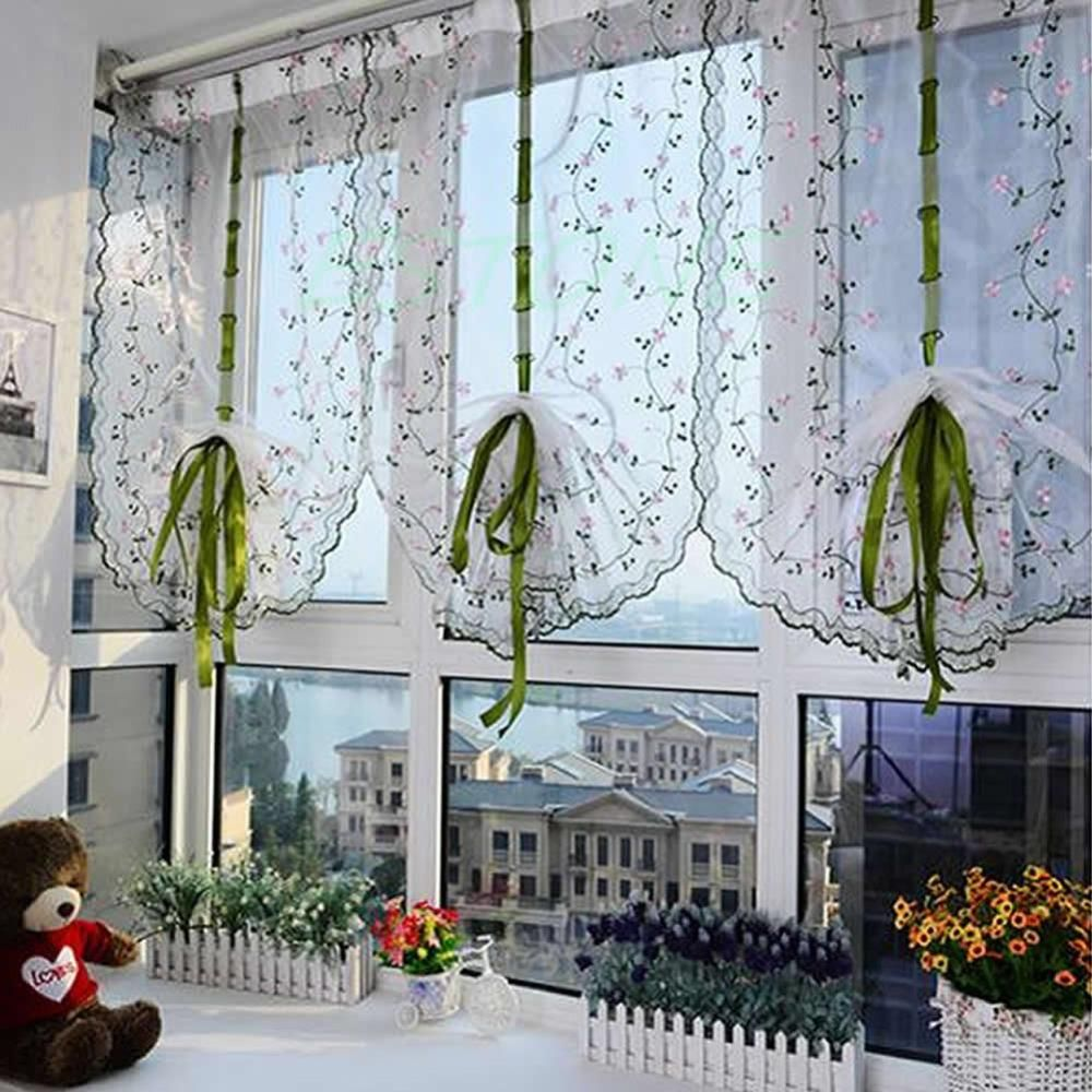rural fresh hand embroidered floral cafe kitchen shade sheer voile door curtain yesterdays price us 635 566 eur todays price us 470 417 eur
