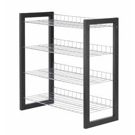metal pro 12 pair chrome plated wood color metal shoe rack lowes