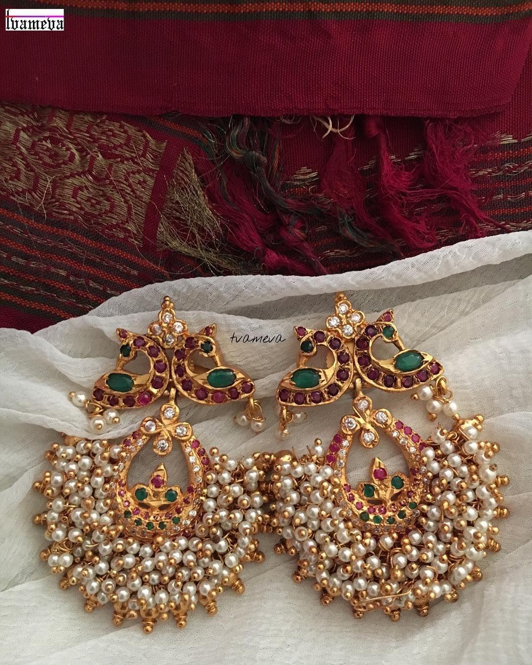 Multi colour kerala style peacock earrings jewllery pinterest