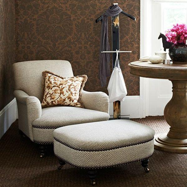 Tapeten Farben Ideen Braune Wände Und Weiße Möbel