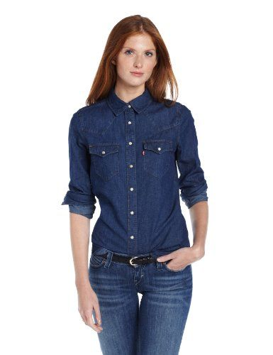 Levi's Women's Color Block Chambray Annie Denim Shirt, Medium ...