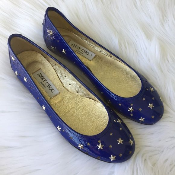 Jimmy Choo Size 8 Flats Blue Jimmy Choo Size 8 Flats. Blue star pattern. They are super comfortable and were gift from my grandmother I never wore. They need someone who will love them more than me. Bought a Jimmy Choo store in Chicago, IL. Never worn before! New with box, dust bag, and tags. No trades, please  Jimmy Choo Shoes Flats & Loafers