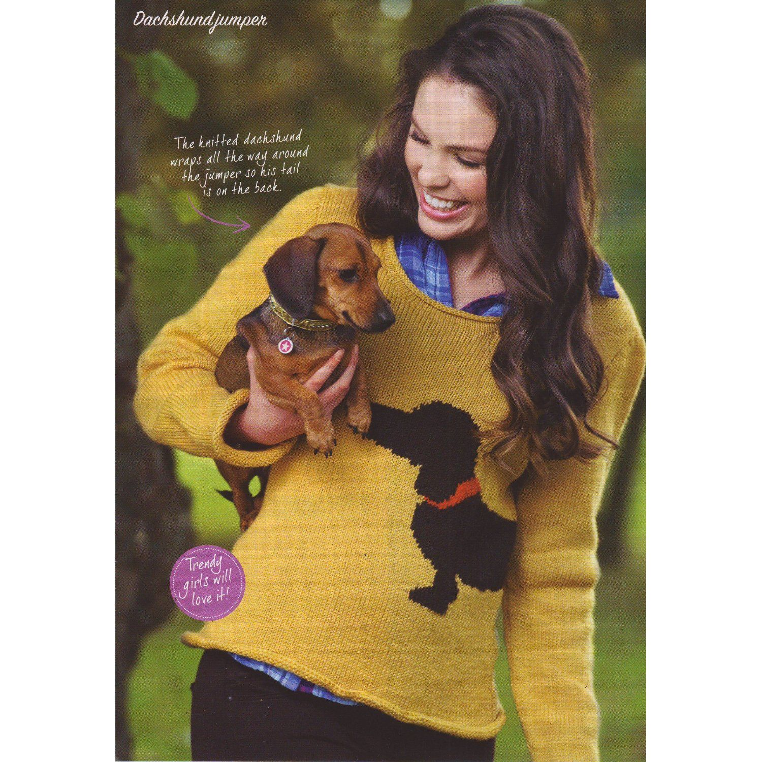 Womens Dachshund Dog Motif Jumper Knitting Pattern: 8 sizes To fit ...