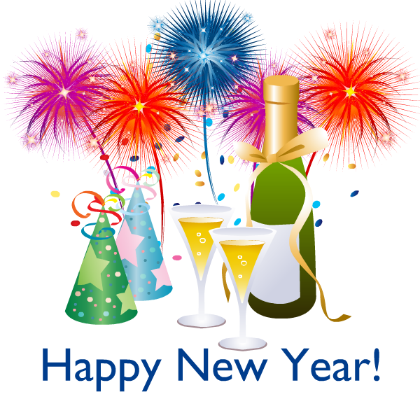 10 Black and White New Year Clipart Retro images, New
