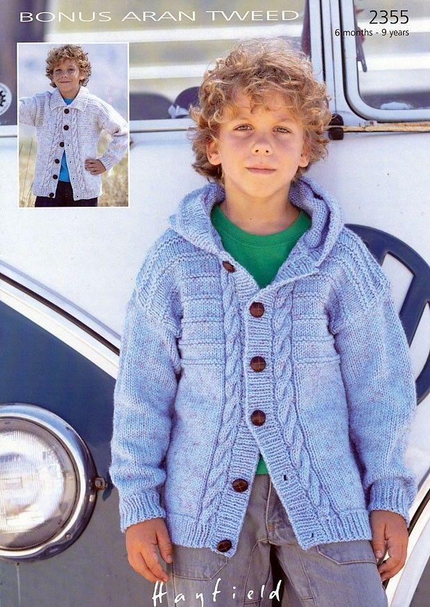 Hooded and Collar Cardigan in Hayfield Bonus Aran Tweed - 2355 ...