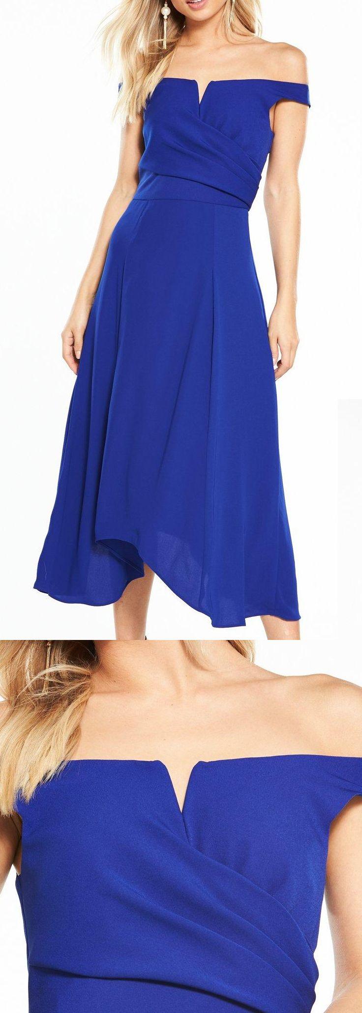 Cobalt blue bridesmaids dress love the on trend bardot dress by