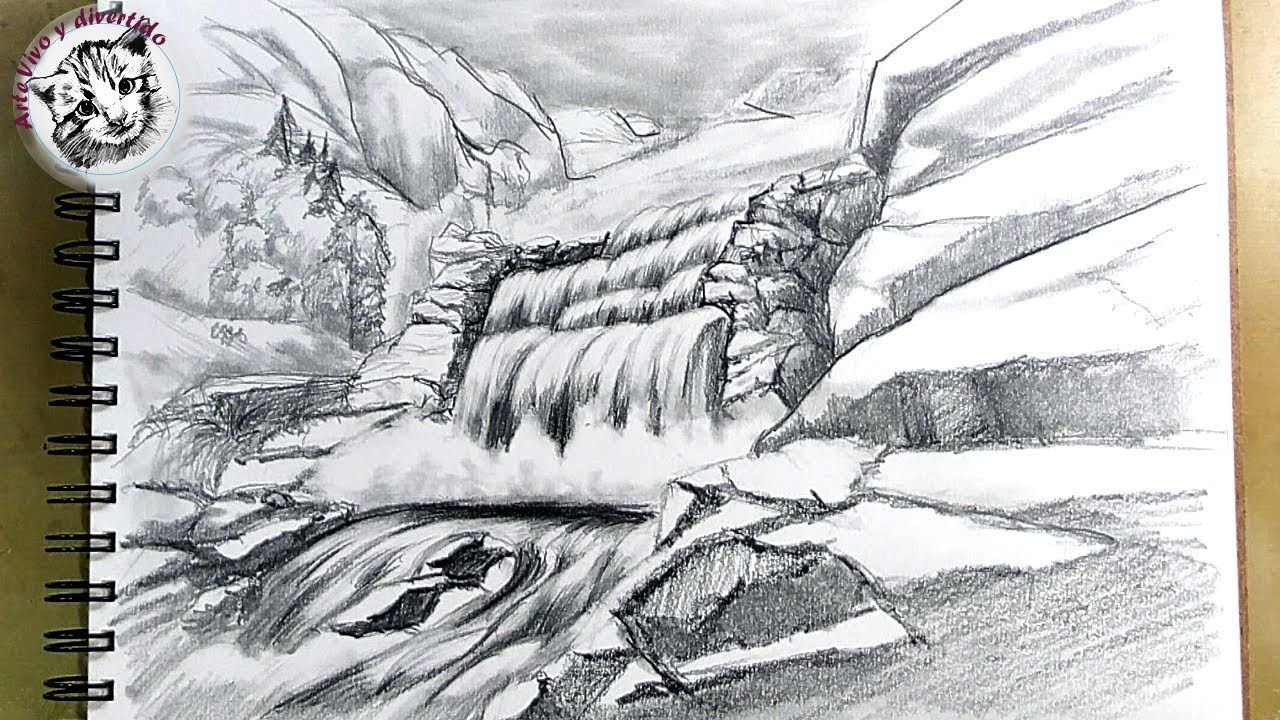 Como Dibujar Una Cascada A Lapiz Paso A Paso Y Muy Facil Como Dibujar Cascadas Dibujo Al Carbon