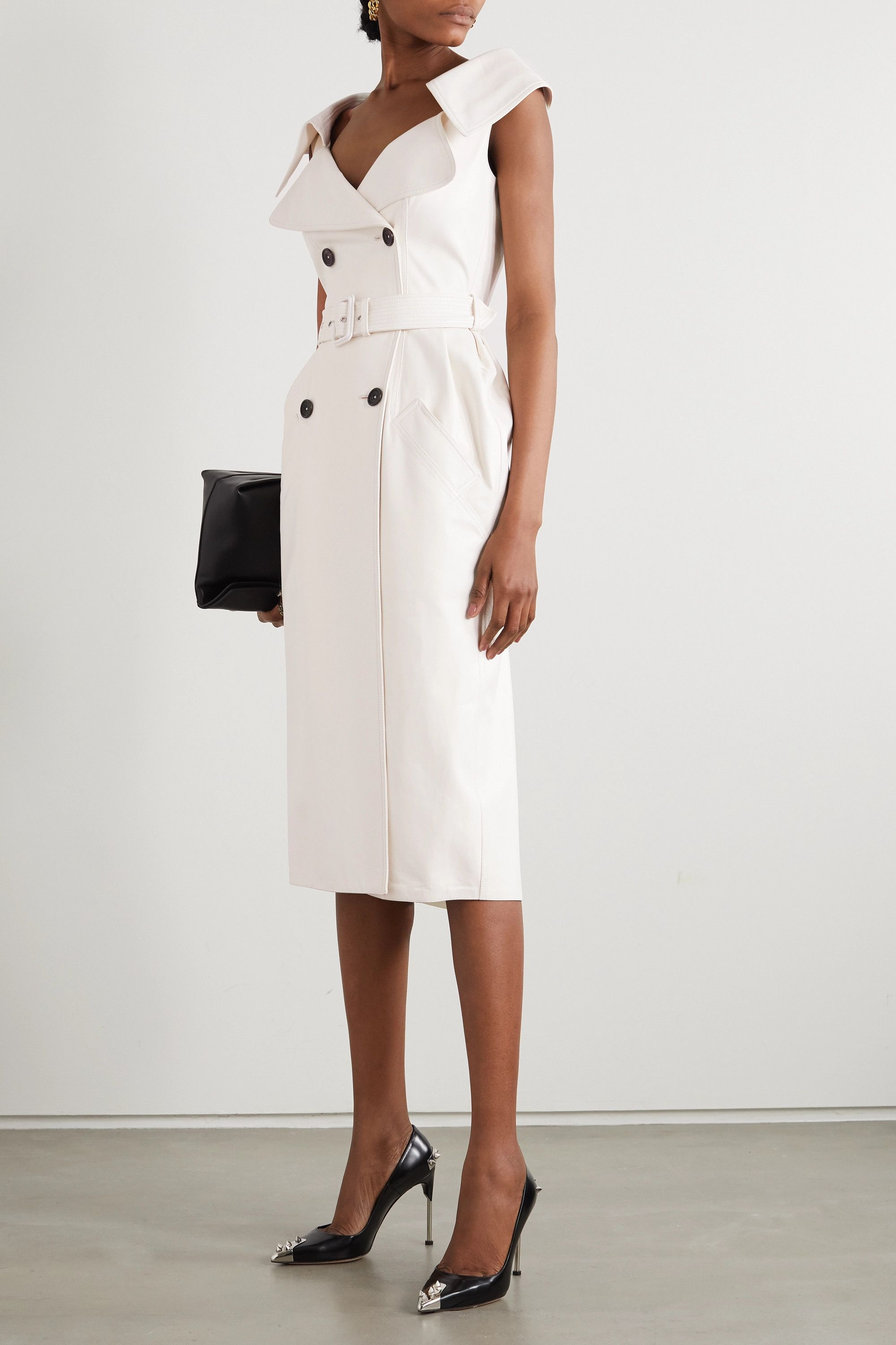 White Belted Double Breasted Leather Midi Dress Alexander Mcqueen In 2021 Leather Midi Dress White Leather Dress Leather Dresses [ 3000 x 2000 Pixel ]