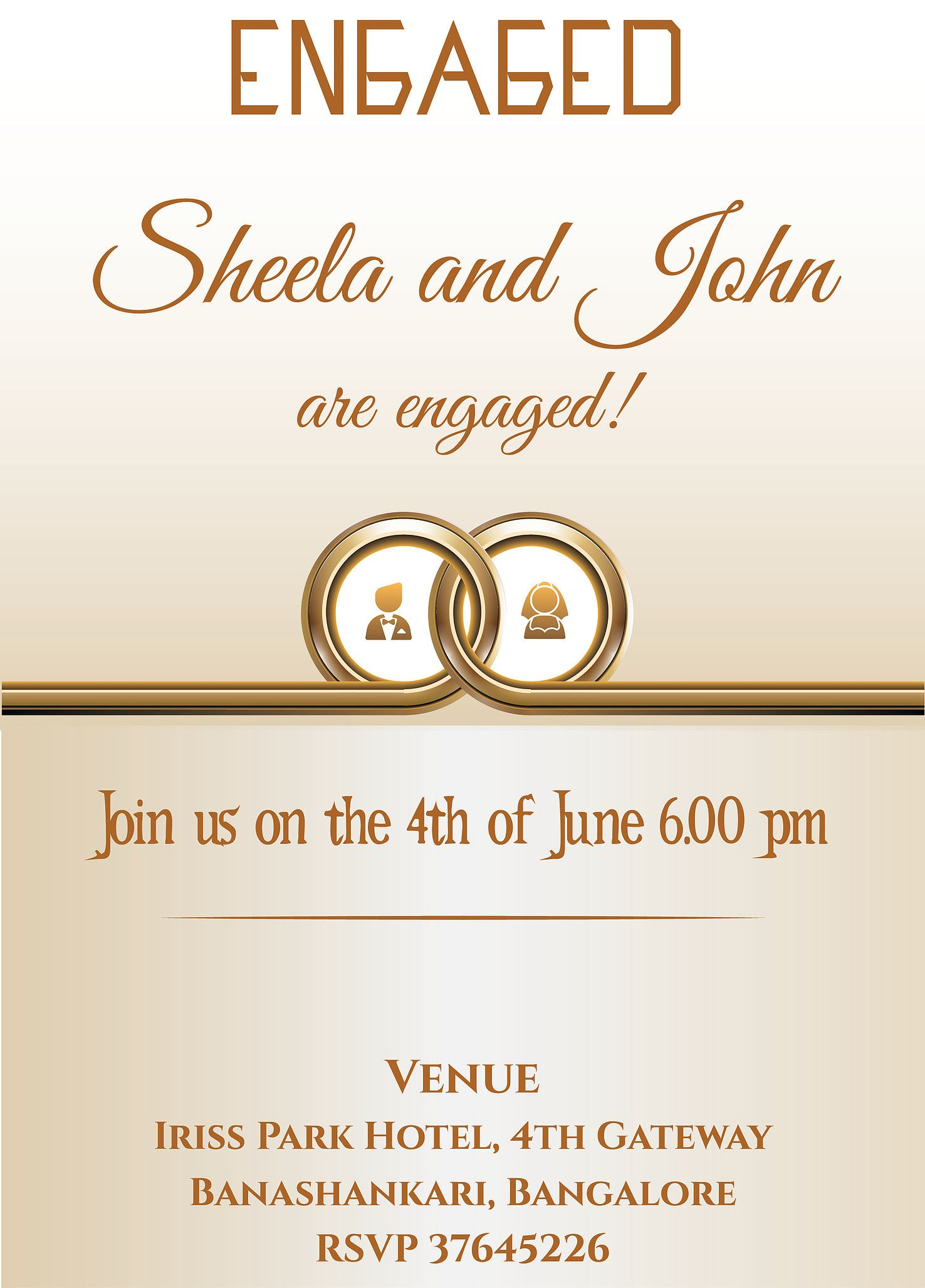 Grab free wordings for Indian engagement/betrothal event