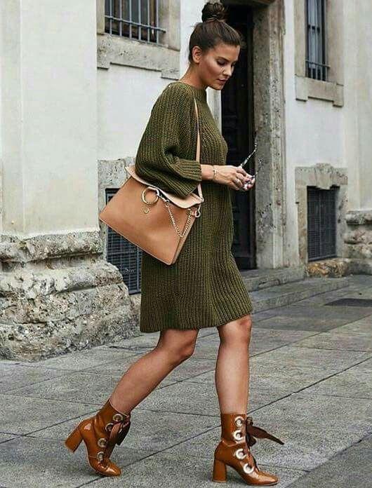 d82b68679bb Vestido de punto verde militar | Moda | Vestidos, Zapatos y Ropa