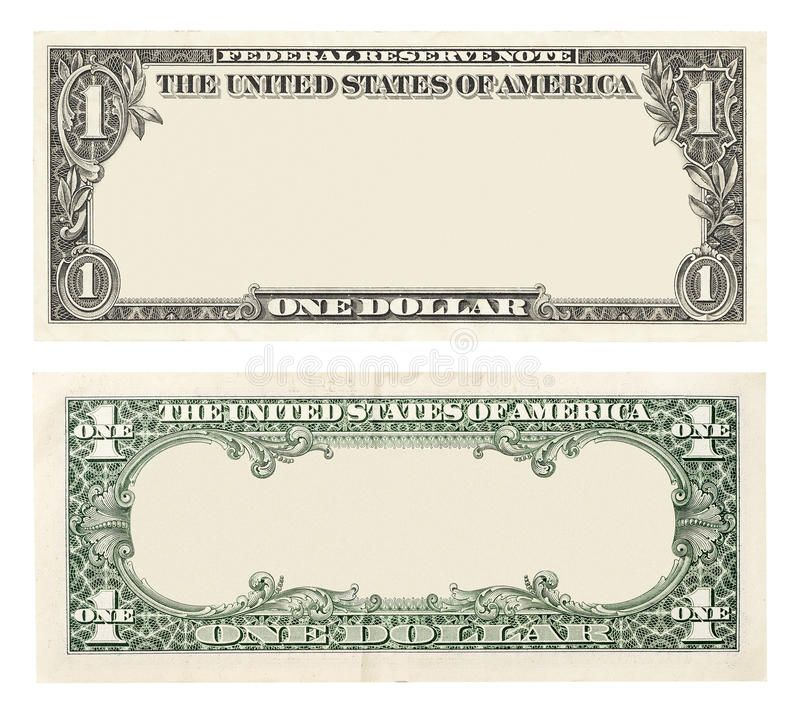 Blank One Dollar Bill Blank Front And Back 1 Dollar Banknote Isolated Aff Bill Dollar Blank Isolated B Bank Notes One Dollar Bill Dollar Banknote