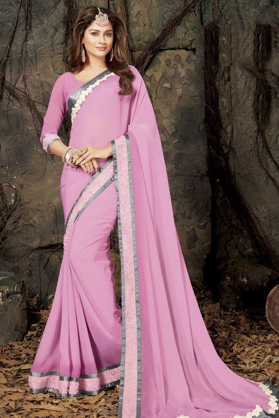 9846061063d1e9 Delightful Onion Pink Saree