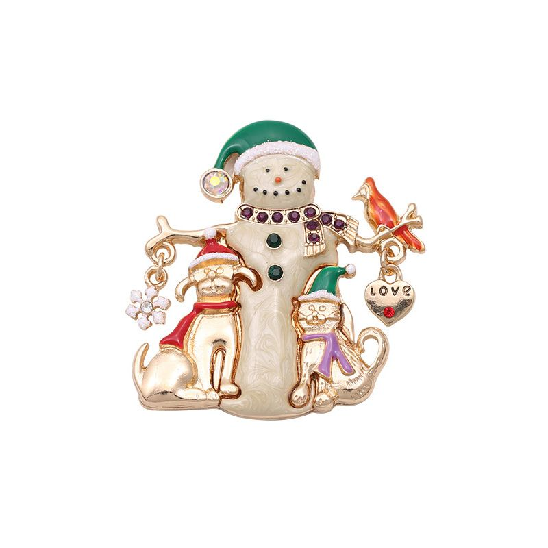 854001a39ed Brooch Pins Broches Fashion Women Cute Light Gold Color Cream Green Red  Enamel Snow Man Christmas Brooches And Pin For Clothing