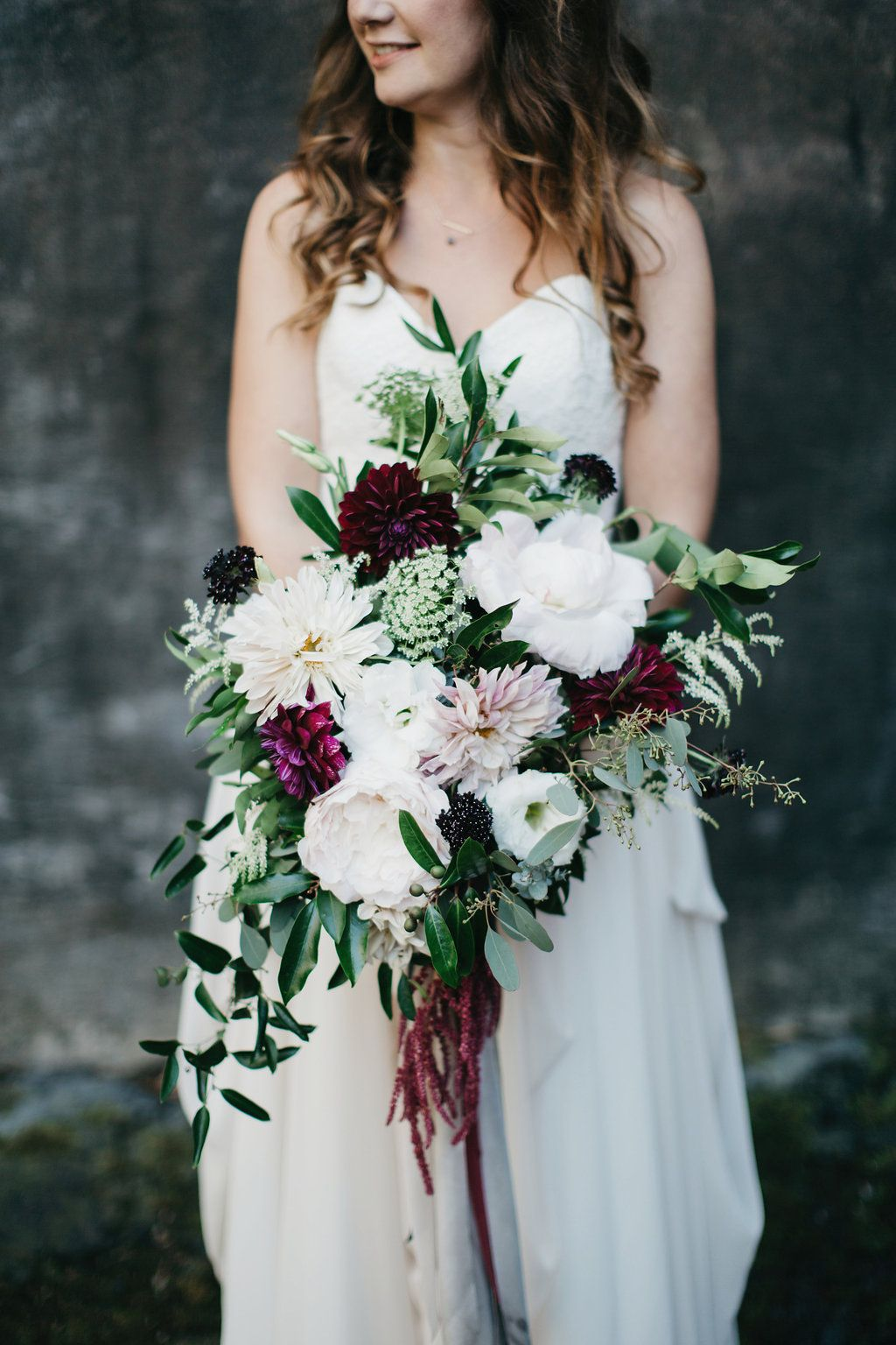 Bridal Bouquet L Maroon Blush Green White Ivory L Cascading
