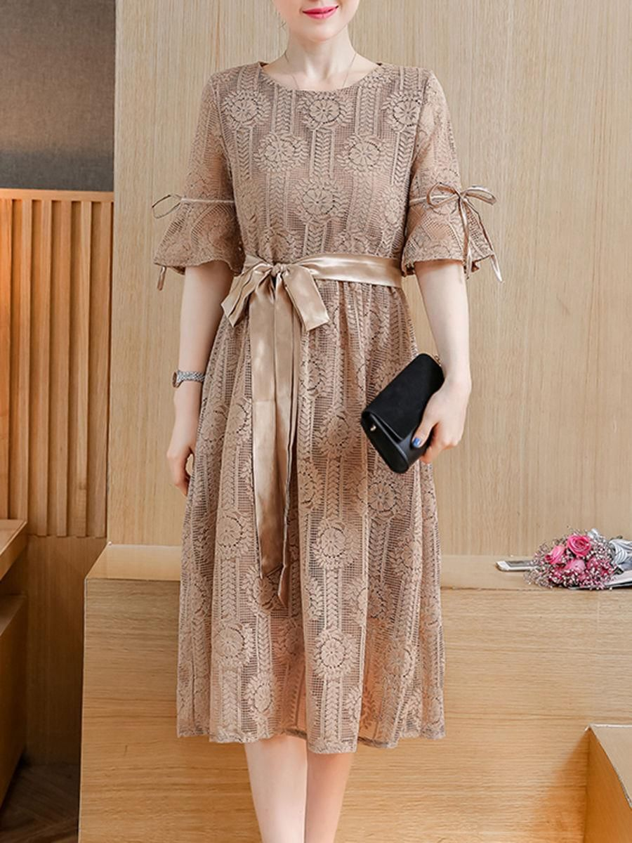 Adorewe fashionmia fashionmia plain lace bowknot bell sleeve maxi