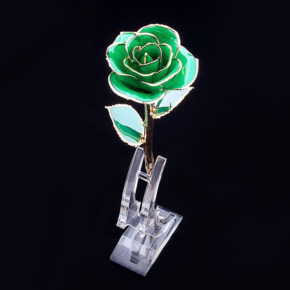 24K Golden Rose Long Stem Real Rose Dipped in Gold with Gift Box Red New