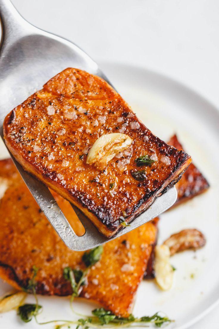Garlic Butter Butternut Squash Steaks