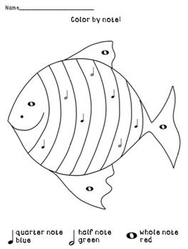 Color By Note Under The Sea Fish Music Coloring Under The Sea Fish Coloring Page