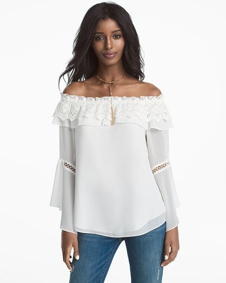 55c117b3818656 Crochet trim and bell sleeves with ladder trim on our feminine off-the-shoulder  blouse elevate the casualness of all your favorite jeans.