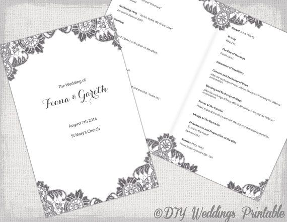 diy catholic wedding program template charcoal gray antique lace