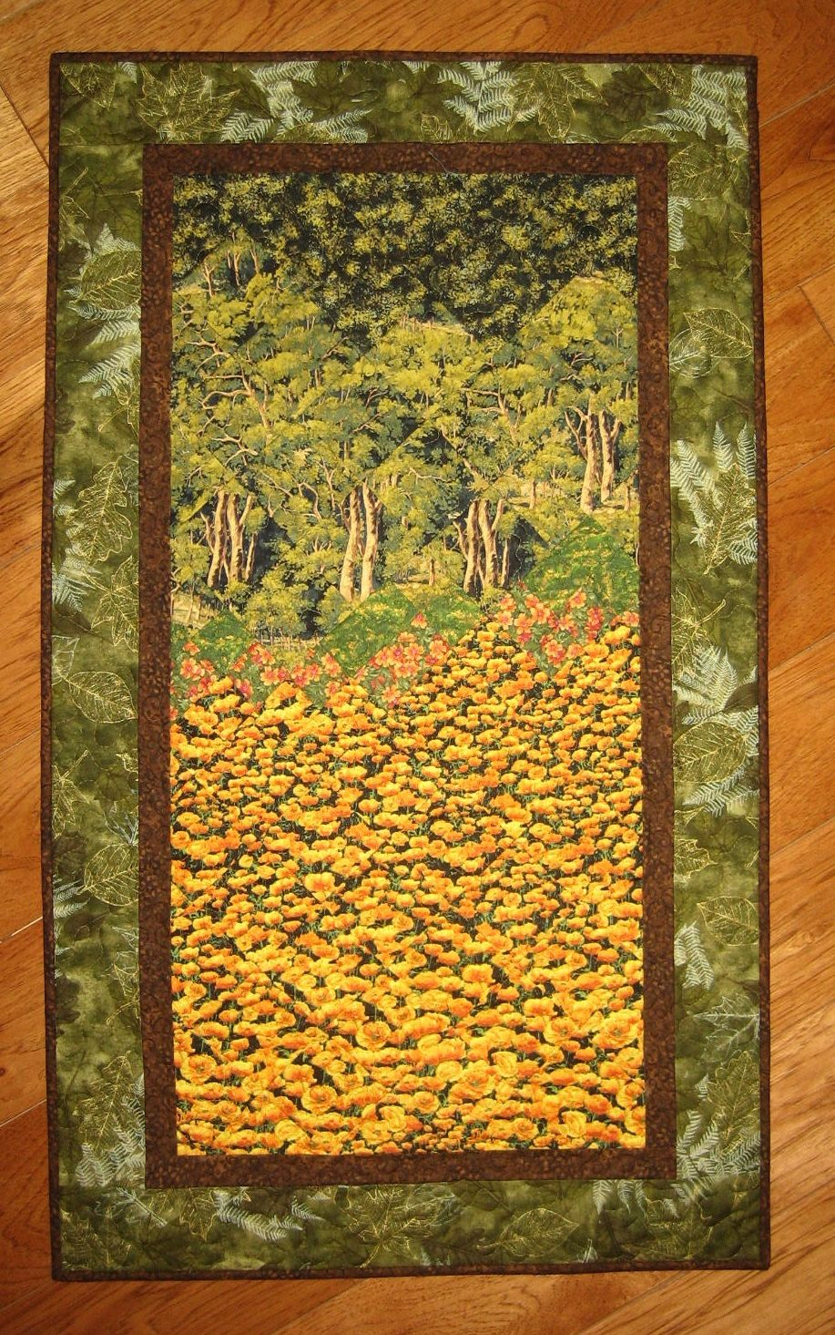 Poppy Fields Tree Forest Art Quilt Fabric Wall hanging Landscape ...