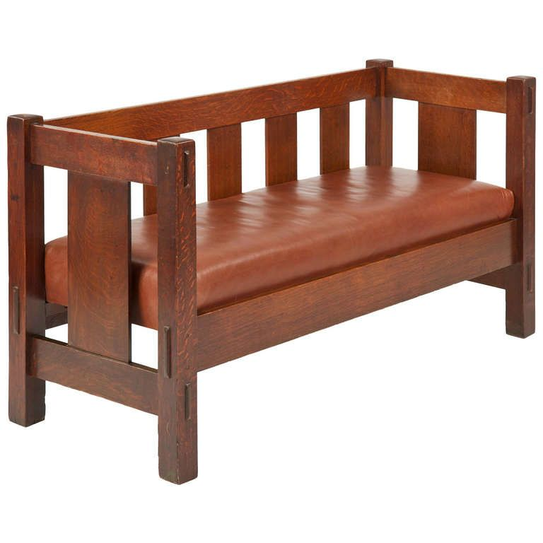 Gustav Stickley Mission Oak Hall Settee Sofa Bench 205 C 1905 12 Gustav Stickley And Settee