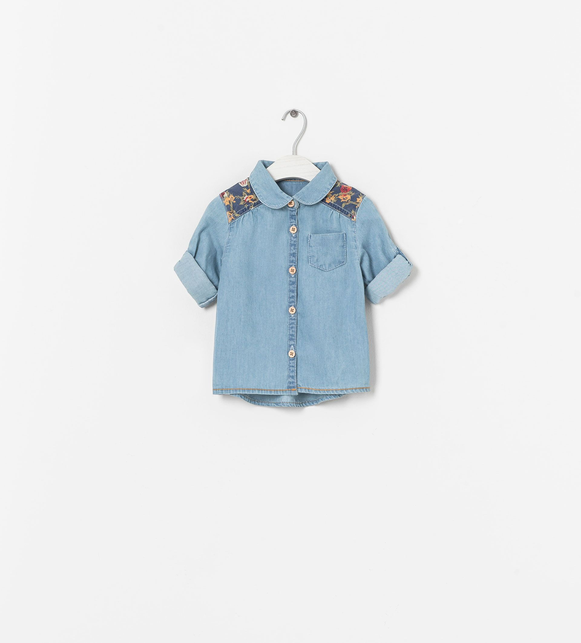 Image 1 Of Denim Shirt With Floral Shoulder Patch From Zara Kids Denim Shirt Girls Denim Shirt Kids Denim
