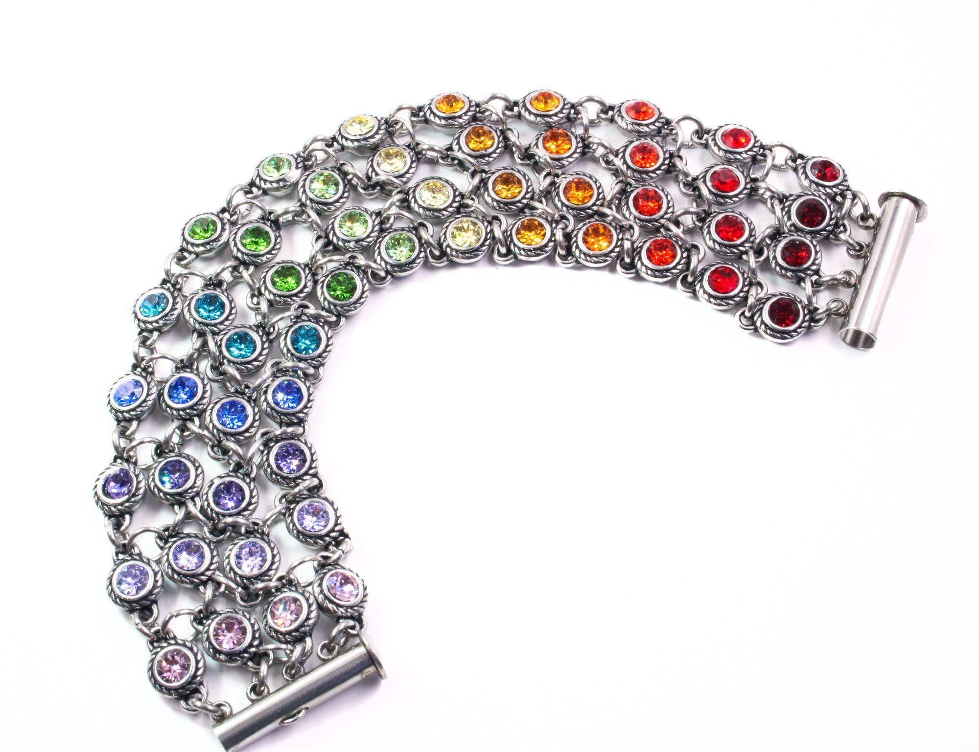 Rainbow Four Stand Crystal Bracelet
