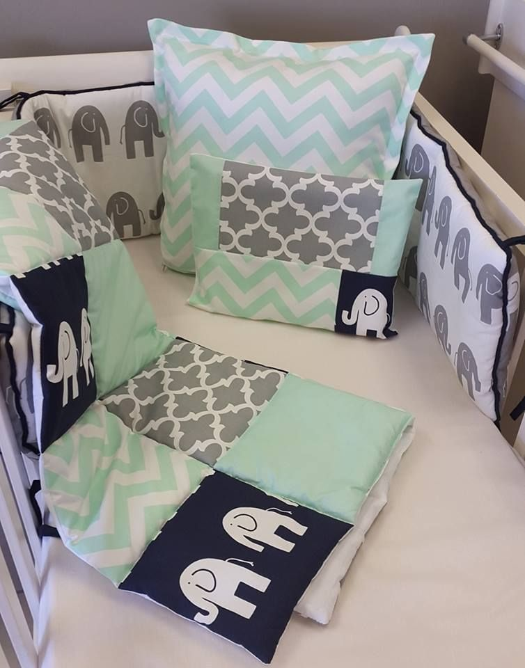 The combination of the grey and black ele, the minty zigzags and the grey patchwork on this duvet is an adorable combination for our baby linen range. The reversible, padded cot bumper and the mint scatter pillow just add that special something to the collection. The fitted sheet and the pillow bring it all together.  To see more of our baby linen ranges, check out: www.studiocollection.co.za