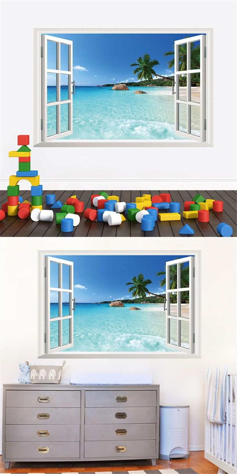 Removable Beach Sea 3D Window Scenery Wall