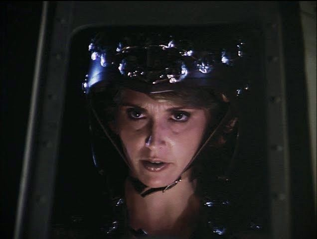 Pilot helmet worn by the empath, Sharese (Nancy DeCarl) - Buck Rogers in the 25th Century S01E06-07: The Plot to Kill a City, Parts 1 & 2 (First Aired October 11, 1979 & October 18, 1979 )