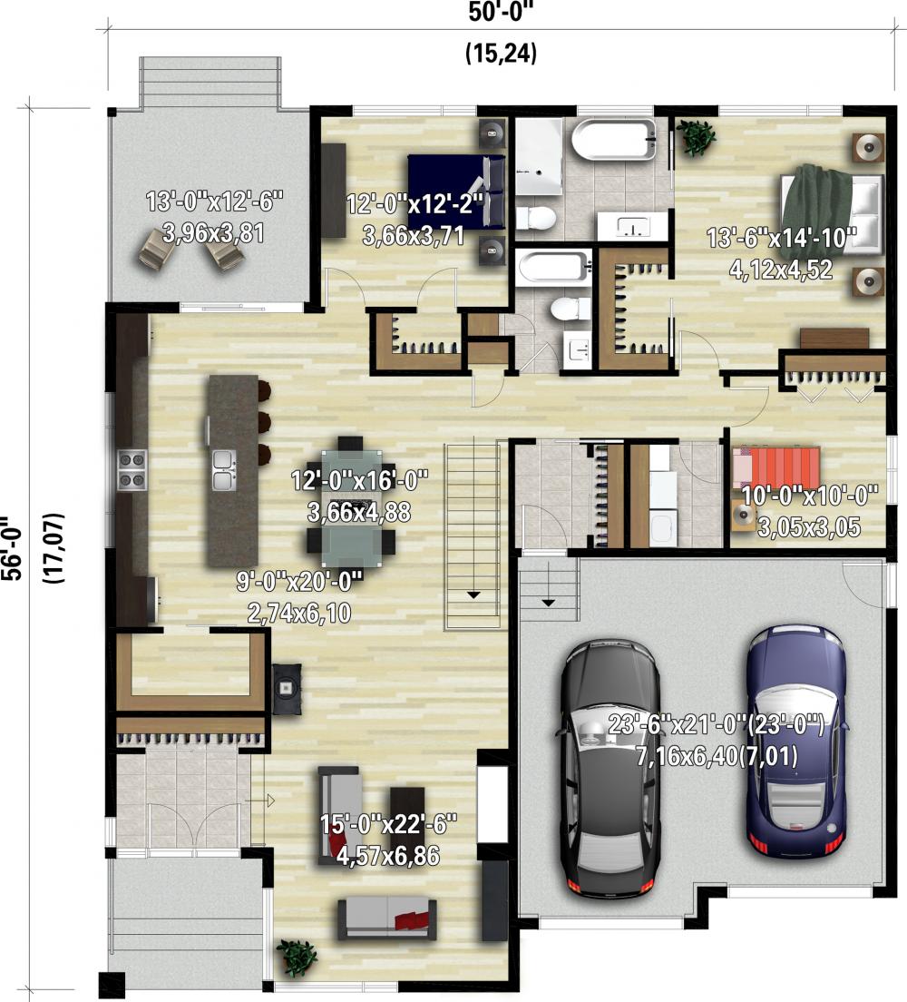 11018 Planimage Plans de bungalow, Plan maison moderne