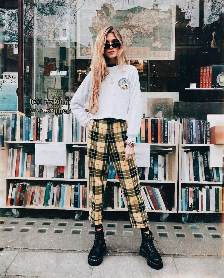 Image result for plaid pants with sweatshirt