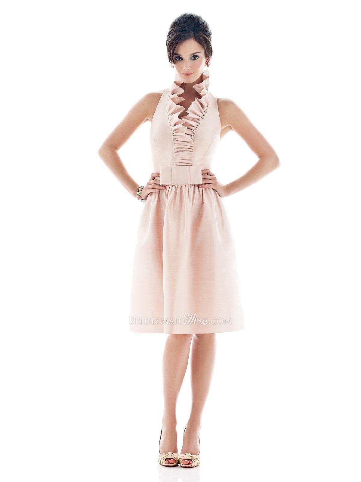 Pearl pink halter knee length ruffle neck bridesmaid dress pearl pink halter knee length ruffle neck bridesmaid dress 40200 off 16400 ombrellifo Images