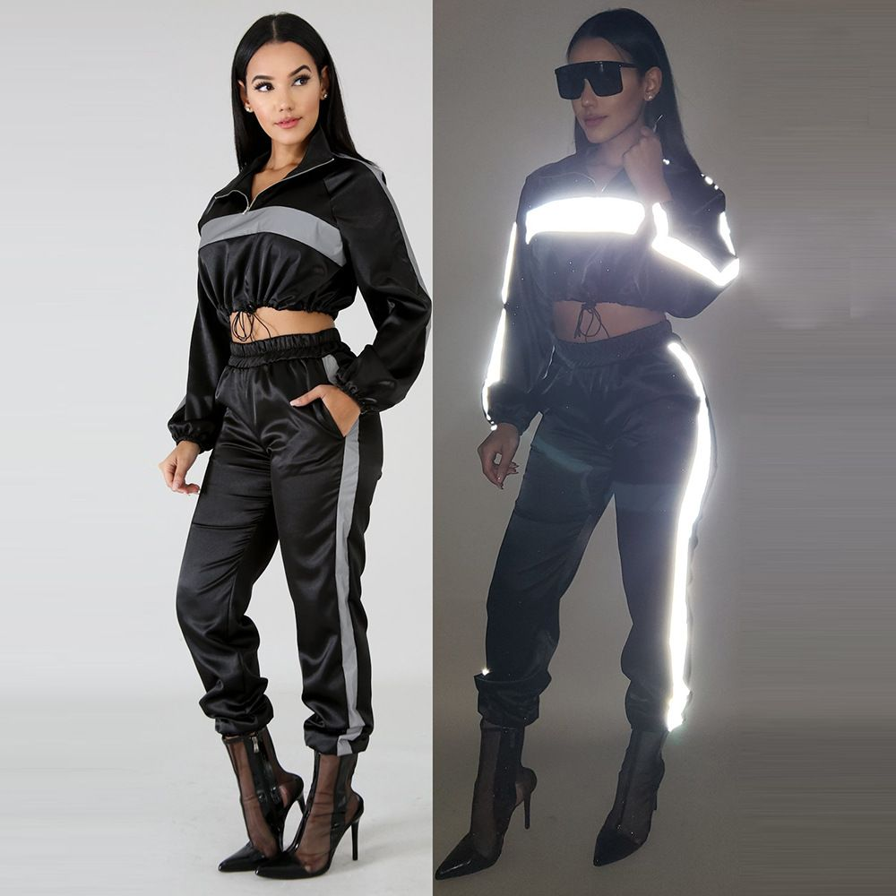 7b2e026bad8 HAOYUAN 2019 Reflective Tracksuit 2 Two Piece Set Women Clothes Black Crop  Top+Pants Sweat Suit Sexy Club Outfits Matching Sets